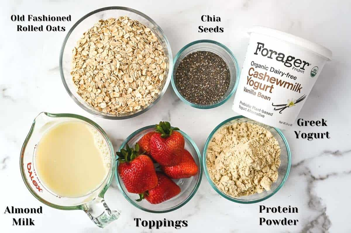 ingredients for this overnight oatmeal recipe