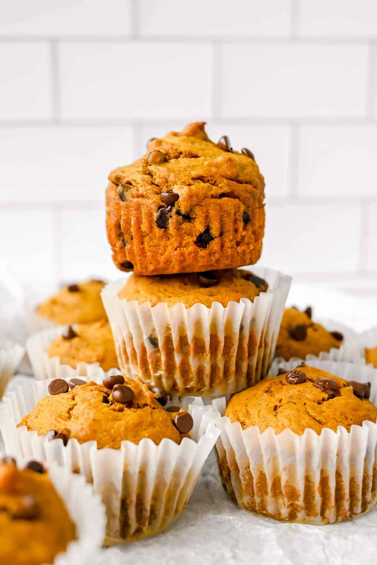 stack of healthy pumpkin protein muffins