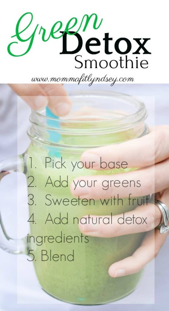 Detox Smoothie Recipe | How to Make a Detox Smoothie in 5 Simple Steps Green Detox smoothie recipes for weight loss or cleanse by www.mommafitlyndsey.com #detoxsmoothie #detox #weightloss #cleanse
