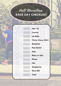 half marathon race day checklist