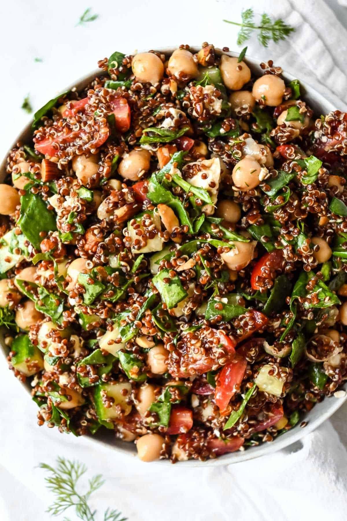 bowl of quinoa spinach salad