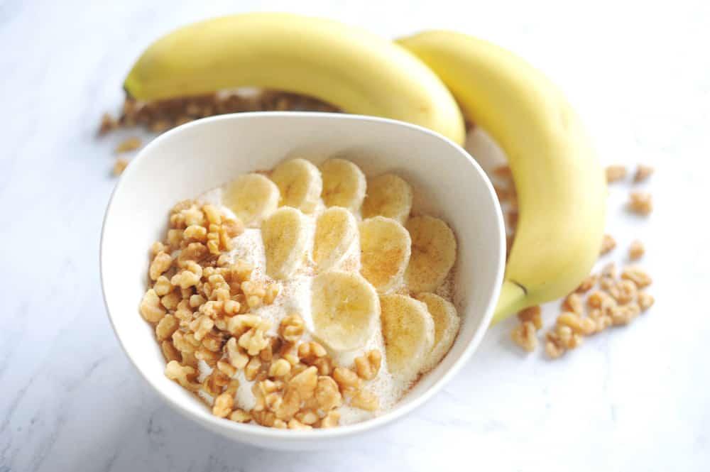 banana bread yogurt bowl for a healthy back-to-school snack