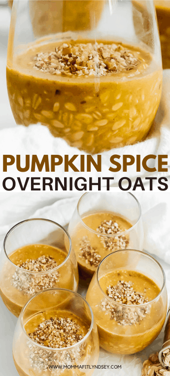 healthy pumpkin spice overnight oats that are easy to make! Vegan pumpkin overnight oats recipe with protein and yogurt that is easy to prep! Video to help you prepare this simple 21 day fix and ww overnight oat recipe.