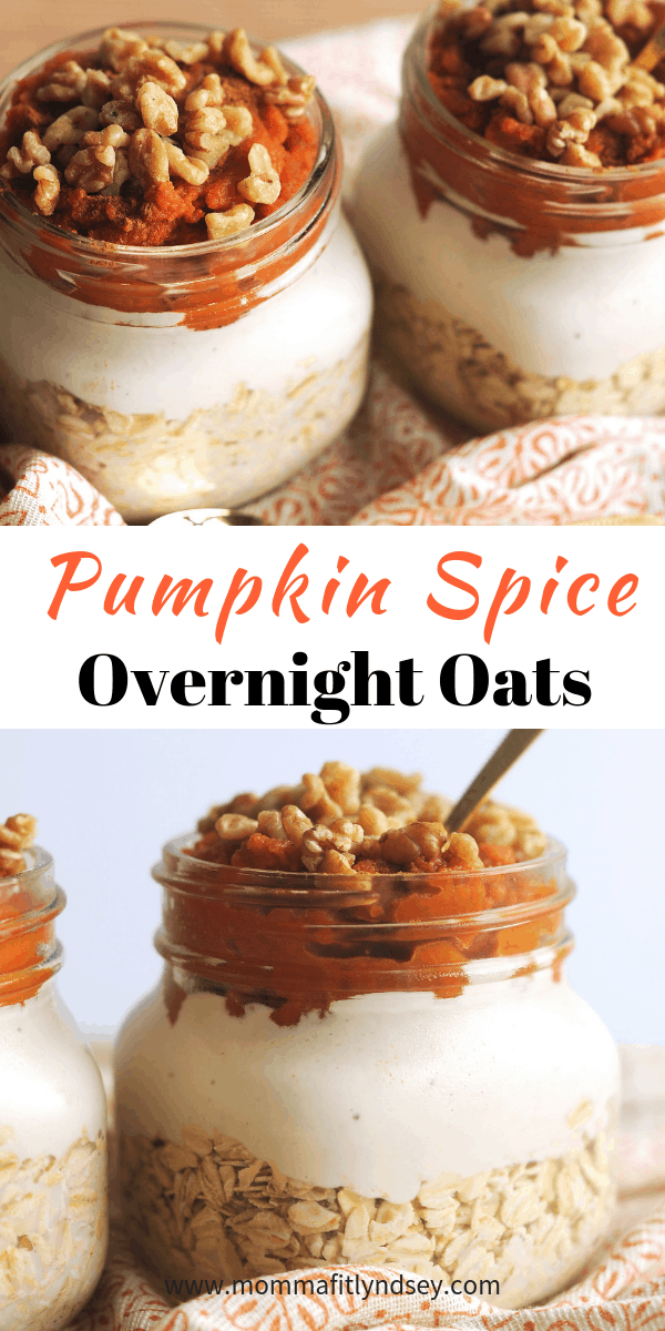 pumpkin spice overnight oats are an easy healthy breakfast for busy mornings