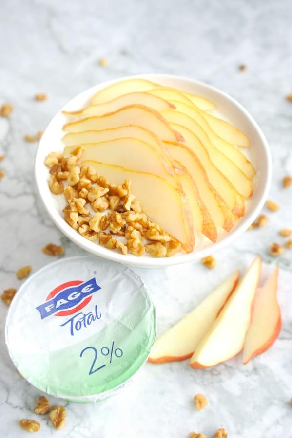 pear walnut greek yogurt bowl for an easy high protein breakfast