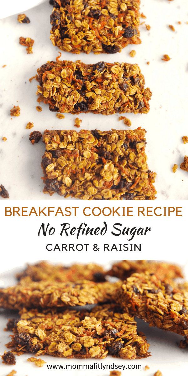 Looking for the perfect EASY healthy breakfast cookie recipe on the go that is lower in sugar? healthy Lifestyle Blogger Momma Fit lyndsey is sharing a simple breakfast cookie recipe that has no refined sugar