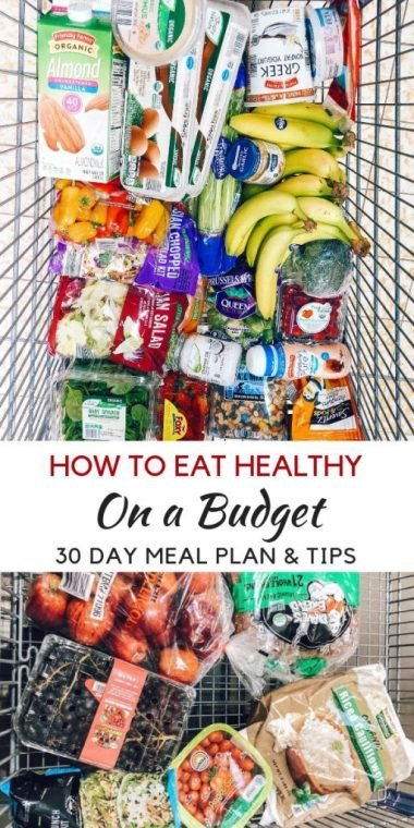 How to Eat Healthy on a budget for a family of four. Family meal planning and meal plan tips including grocery list for eating organic on a budget.