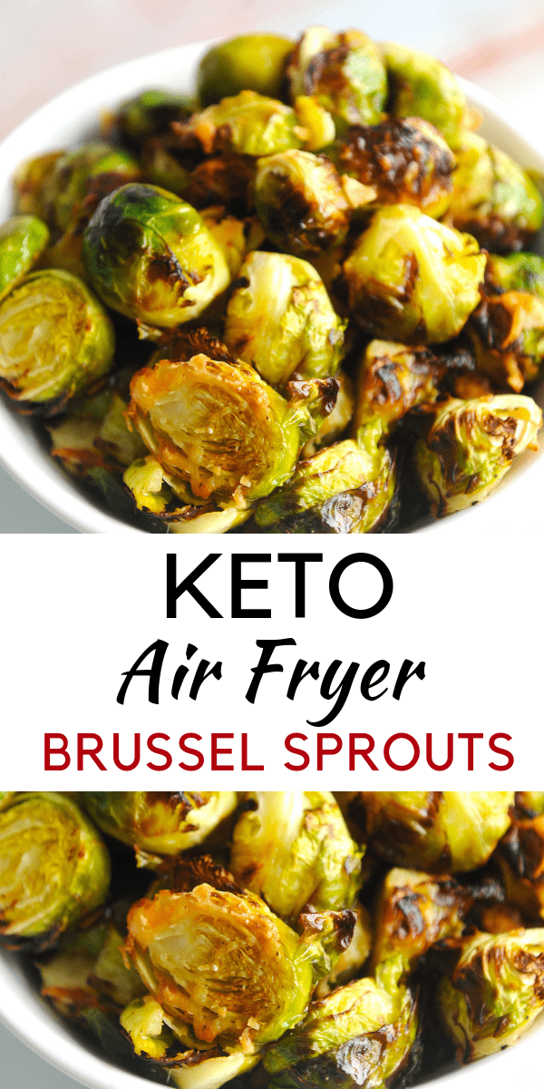 Looking for a delicious air fryer brussel sprouts recipe? healthy Lifestyle Blogger Momma Fit lyndsey is sharing her keto air fryer brussel sprouts recipe
