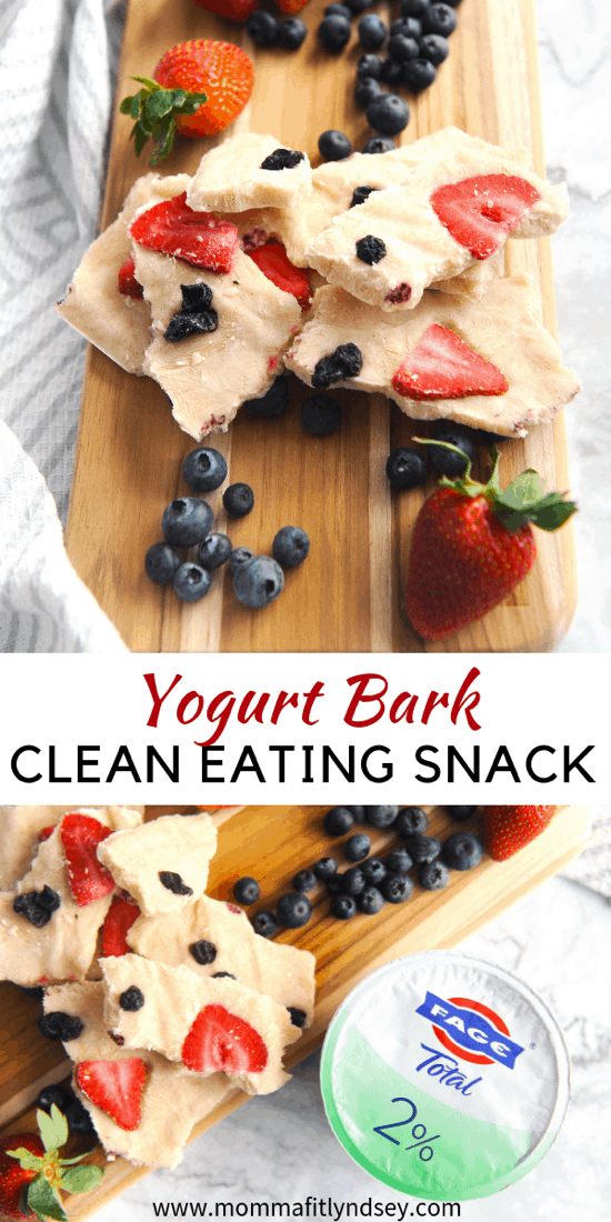 Looking for a healthy snacks with protein? healthy Lifestyle Blogger Momma Fit lyndsey is sharing her favorite yogurt bark recipe