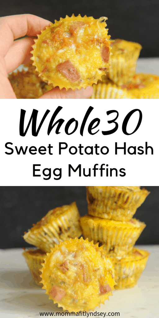 Looking for easy whole30 breakfast recipes? healthy Lifestyle Blogger Momma Fit lyndsey is sharing her favorite sweet potato hash egg muffins
