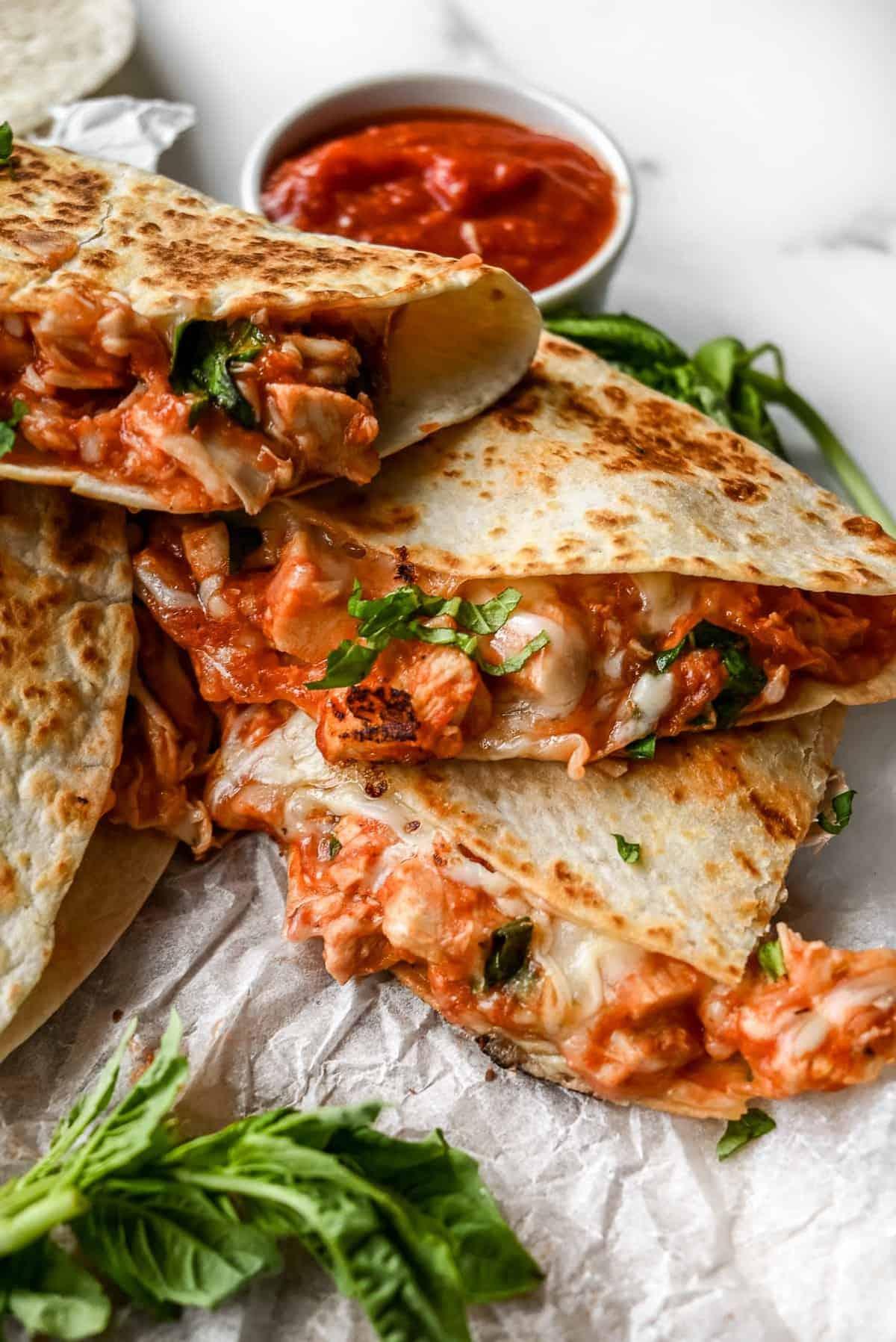 plate of pizza quesadillas