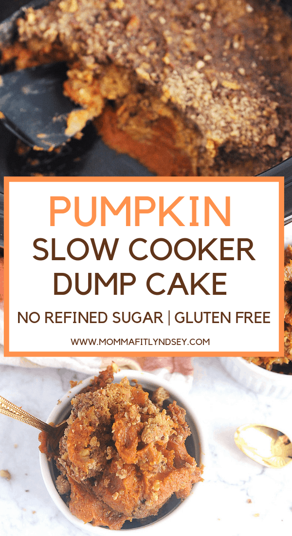 healthy and easy pumpkin dump cake dessert that can be made in the slow cooker or crockpot.  Gluten free and made with yellow cake mix that is homemade