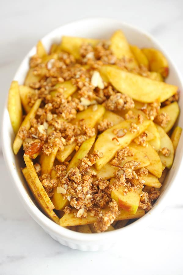 This gluten free apple crisp is an easy and healthy dessert recipe that can also be a healthy breakfast idea.