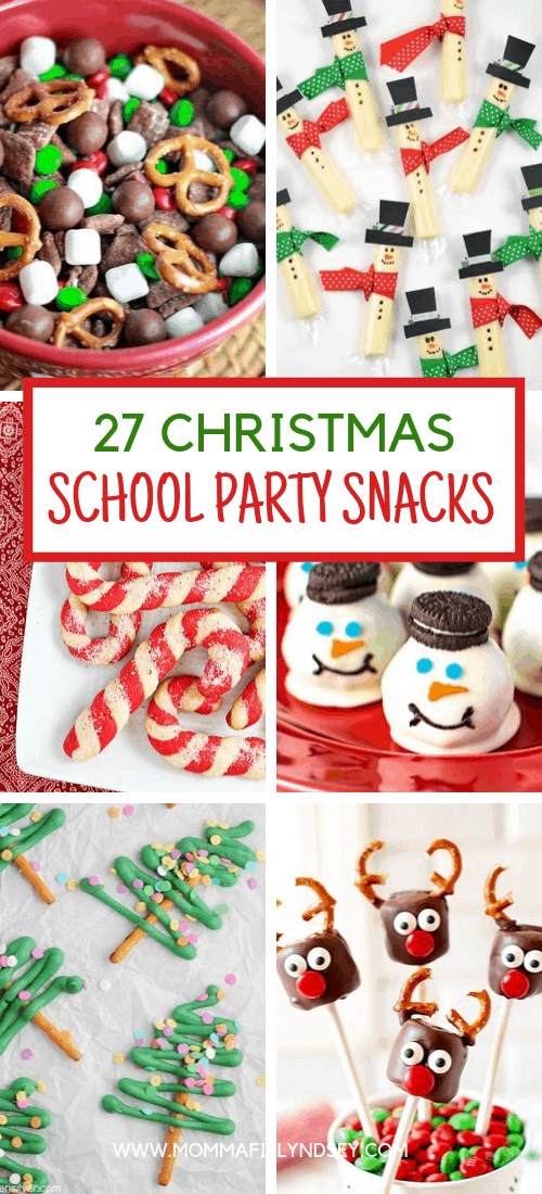 Need ideas for Christmas party snacks?  Here are 27 Easy classroom snacks for school parties including Christmas, winter, and holiday parties.
