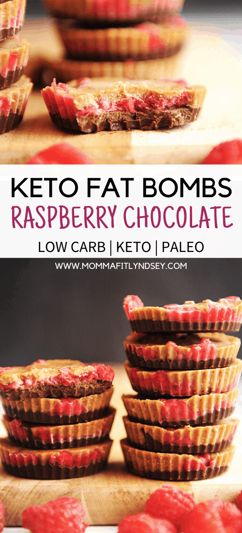 Fat bomb recipes like this chocolate raspberry almond butter fat bomb are easy to make and the perfect keto snack to curb your sweet tooth while doing the ketogenic diet