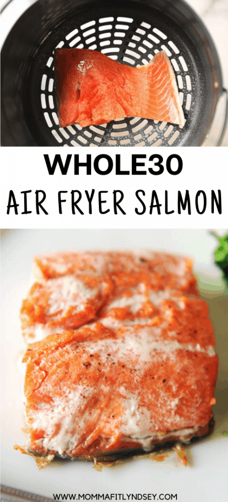 whole30 salmon recipe that is easy to bake or make in the air fryer. Whole 30 dinner you can eat alone or on salad.
