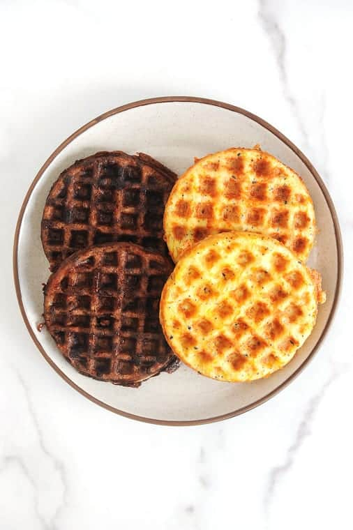 This chaffle recipe is the perfect low carb breakfast!  These chaffles are both sweet and savory and totally keto friendly!  The best recipe for a quick keto chaffle and the best chaffle maker for under $10!