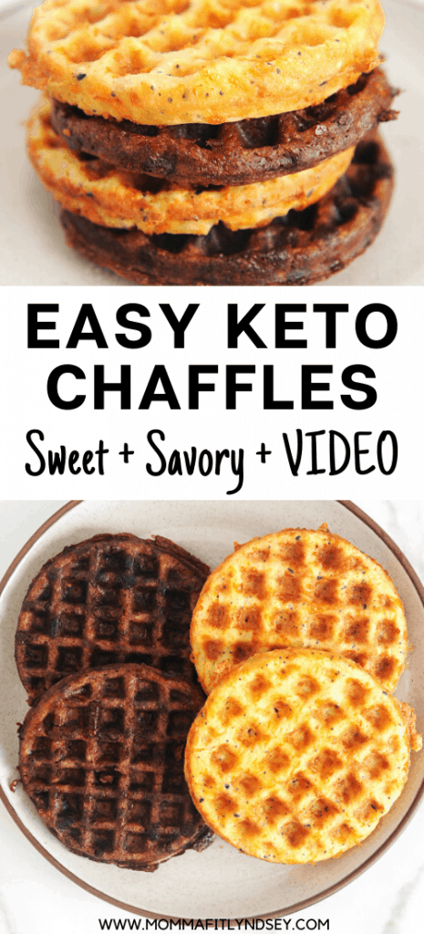 Best recipe + video for easy to make keto chaffles both sweet and savory versions. Two recipes using chocolate and everything but the bagel seasoning. Great recipe for breakfast or to make a sandwich or pizza. Low carb waffle made with almond flour.