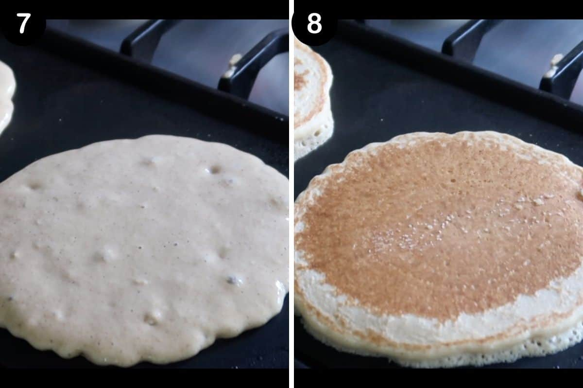 steps for making pancakes on a griddle