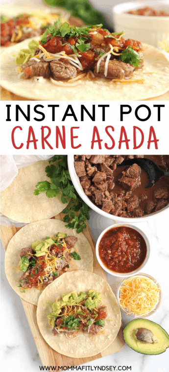 Instant Pot Carne Asada recipe for street tacos. Easy to make with flank steak. The best recipe that is keto and whole30 and can be used for burritos, fajitas or salad.