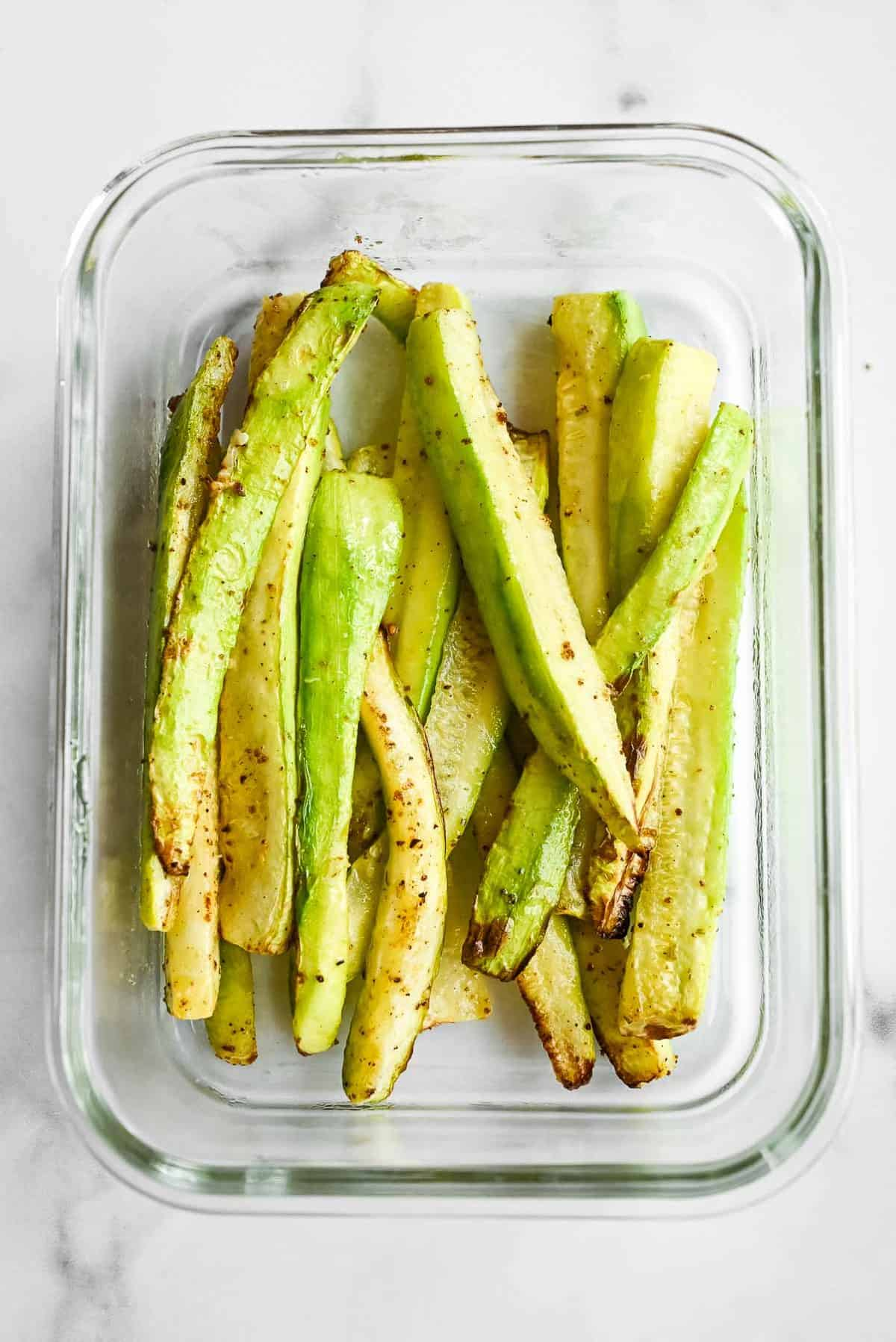 dish of air fried zucchini fries with no breading