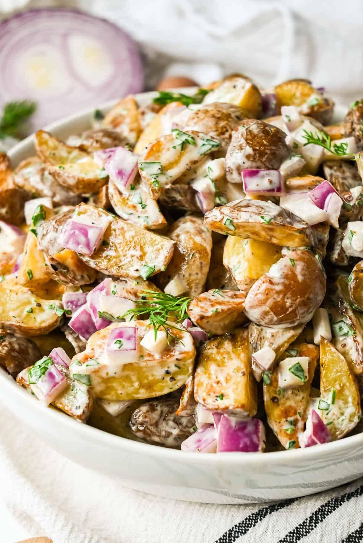 bowl of roasted potato salad