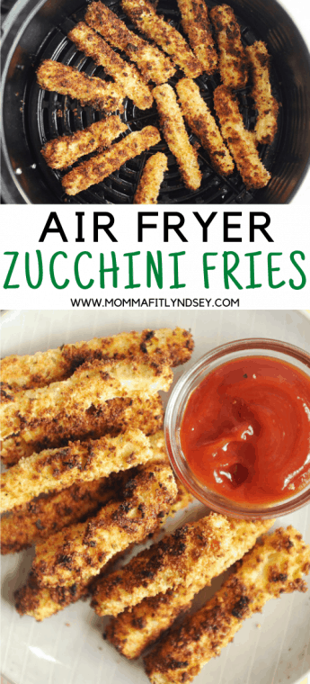 Air Fryer Zucchini Fries are an easy to make healthy side dish! Gluten free panko bread crumbs and ranch seasoning make this recipe crispy and delicious!