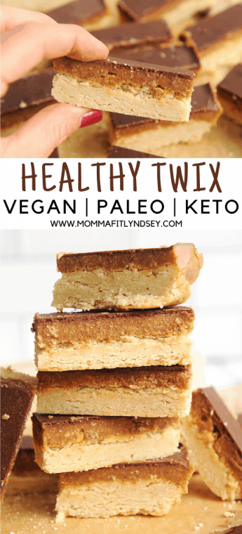 healthy twix bars. recipe for easy to make healthy twix cookie bars with peanut butter. Low carb twix cookies that are homemade and no bake