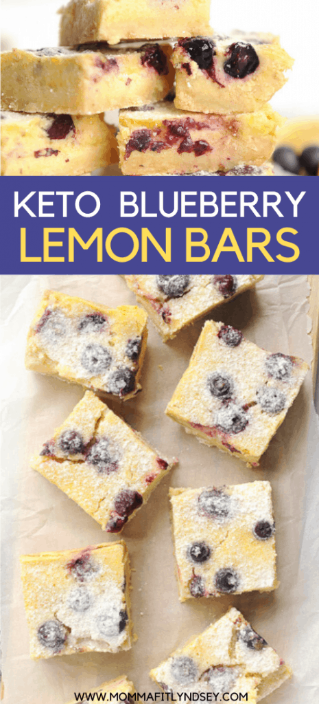 Keto Lemon bars made with blueberries are easy to make, low carb, gluten free, grain free and sugar free! This recipe takes classic lemon bars and makes it low-carb friendly and adds in delicious blueberries! This easy recipe is low carb, keto, gluten and grain free, and free of refined sugar!