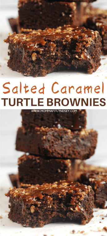 pecan caramel brownies that are gluten free, dairy free, fudgy and delicious. Made from scratch with vegan salted caramel, these easy brownies are healthy turtle brownies