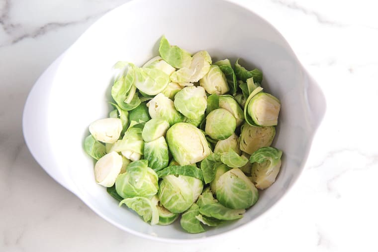 clean brussel sprouts in a colander