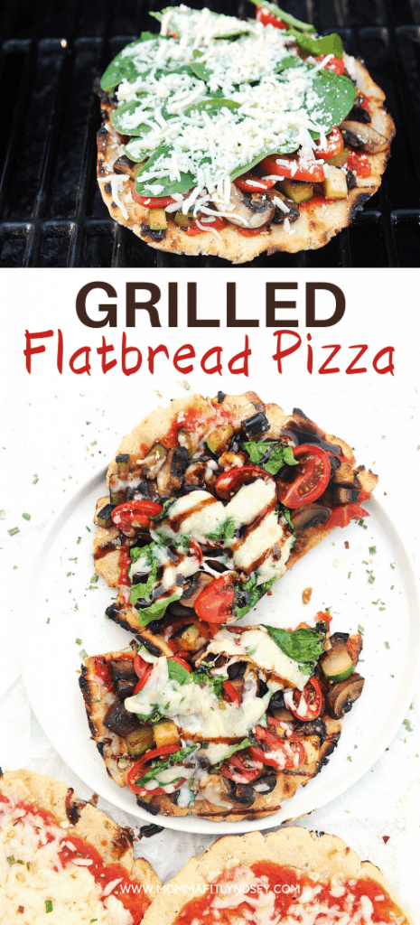 healthy grilled pizza recipe on gluten free flatbread pizza crust. Easy flatbread pizza dough recipe you can make at home in under an hour!