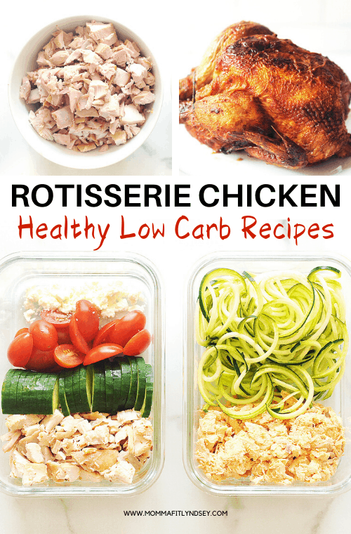 quick keto rotisserie chicken recipes for lunch or dinner. Easy recipes for Greek and buffalo rotisserie chicken are great for leftovers, healthy lunch bowls and quick dinners.