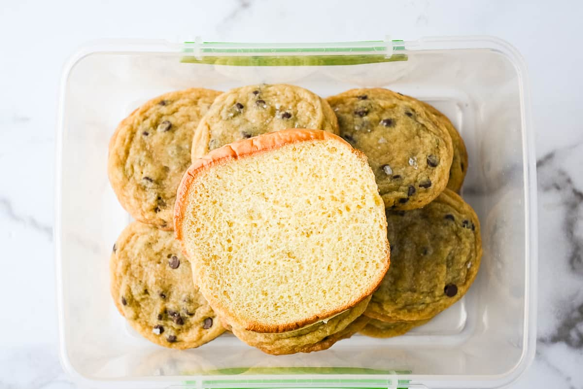 bread stored with chocolate chip cookies to keep them from drying out