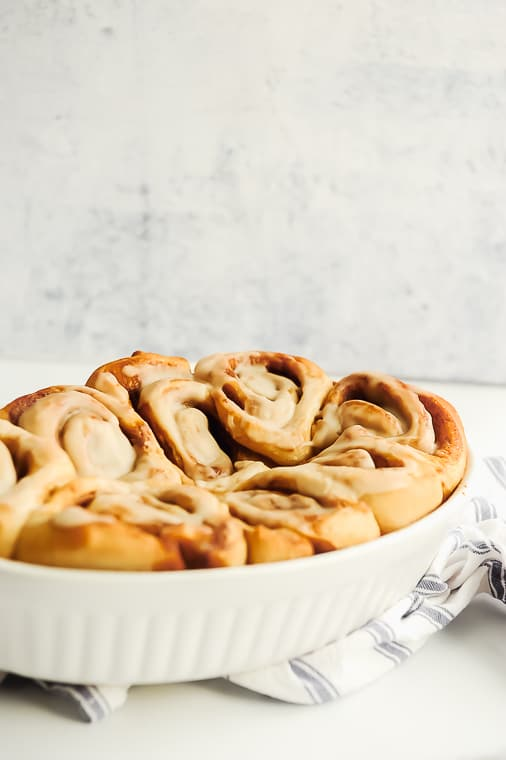 Dairy free cinnamon rolls are fluffy, delicious and taste just like classic cinnamon rolls! Just enough sweetness and hot from the oven these gooey cinnamon rolls are the perfect brunch treat!