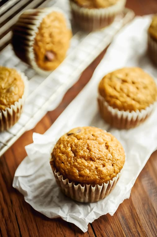 healthy pumpkin zucchini muffins with no sugar added. refined sugar free healthy muffin recipe that is easy to make for healthy snacks or breakfast.
