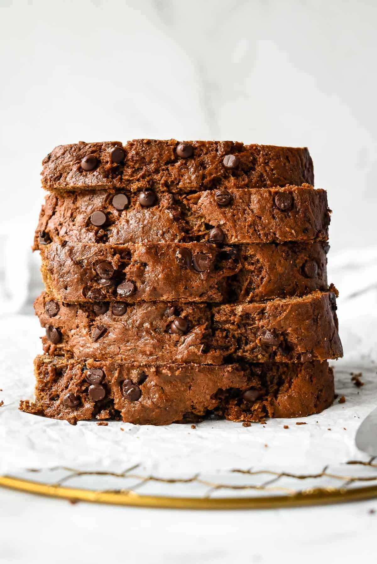 stack of healthy zucchini bread with applesauce and chocolate chips