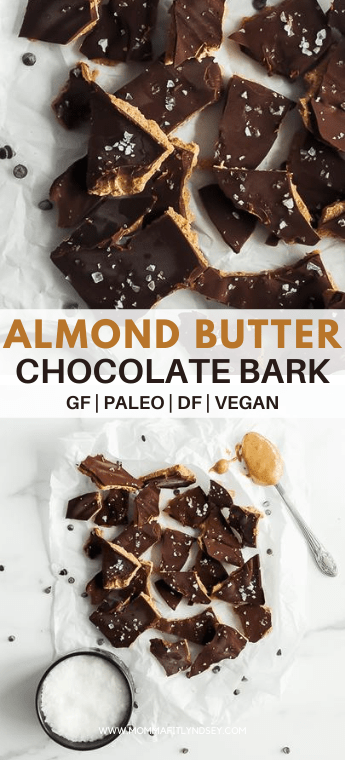 healthy chocolate almond butter bark recipe. tastes like a buckeye candy and is dairy free, gluten free, vegan and paleo. This healthy chocolate bark is easy to make for homemade christmas gifts or a healthy dessert idea all year round.