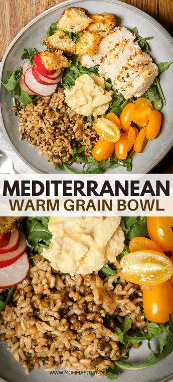 Mediterranean Grain Bowl made with chicken, whole grains and veggies - a Panera copycat warm grain bowl! Super easy to make at home!