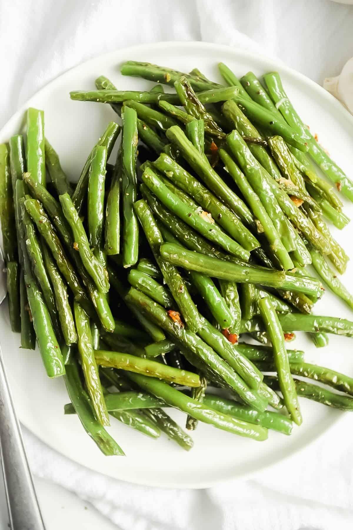 plate of blistered green beans