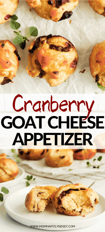 cranberry goat cheese appetizer with puff pastry is an easy holiday appetizer your guests will love! Momma Fit Lyndsey shares her quick holiday appetizer using a cranberry goat cheese log to make delicious puff pastry bites.