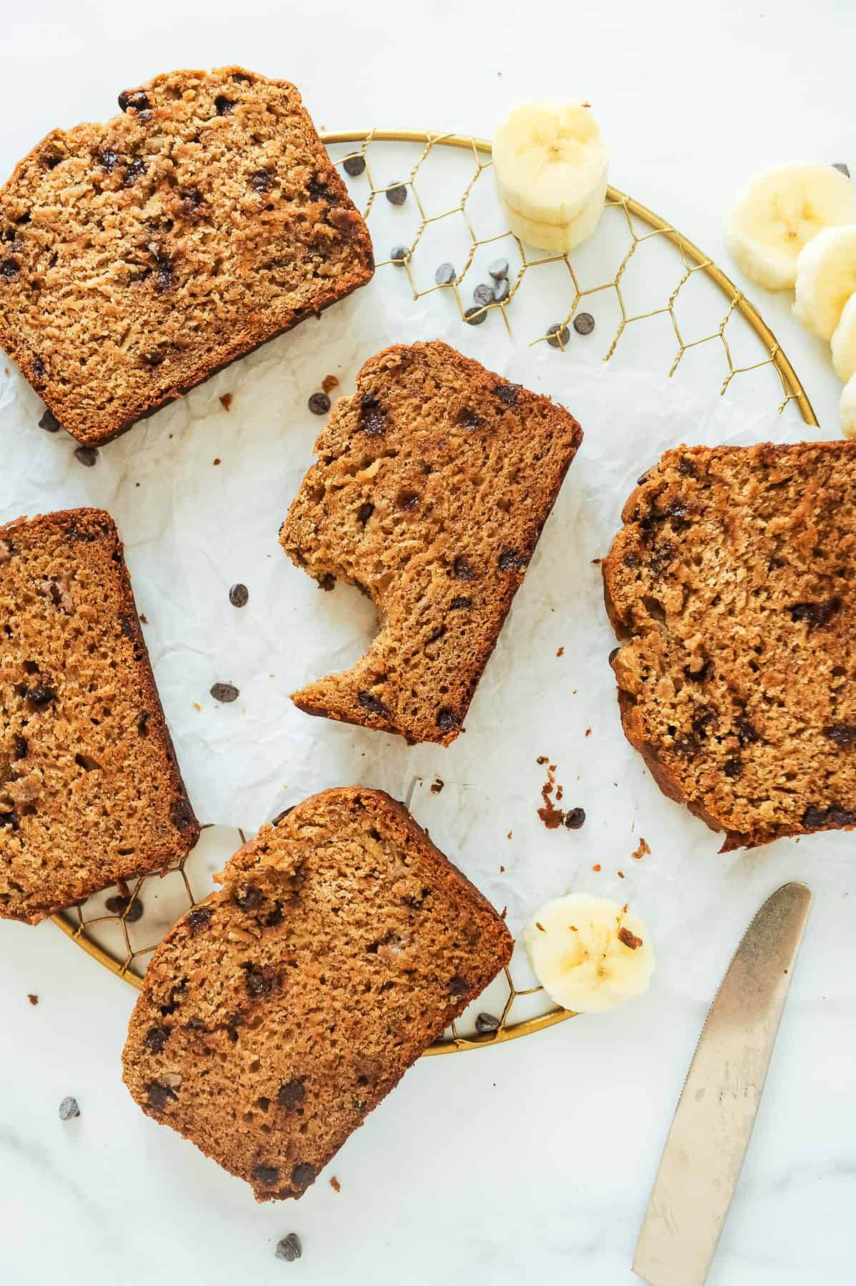 slices of healthy chocolate chip banana bread