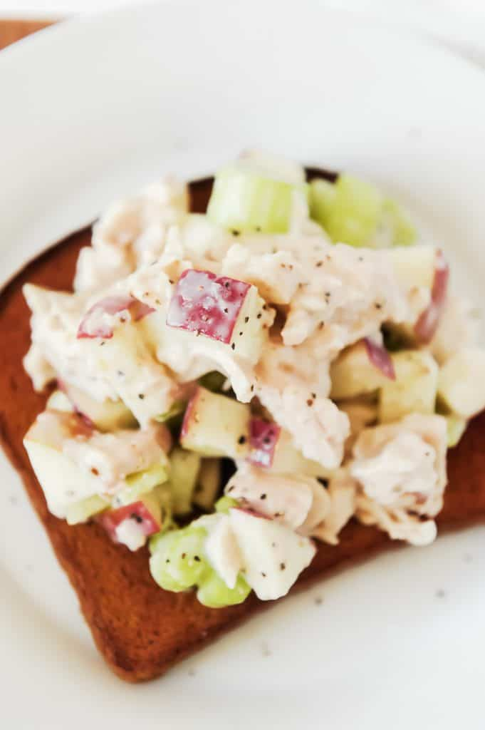 This Rotisserie Chicken Salad recipe is made with Greek yogurt, Whole Foods rotisserie chicken, apples and celery. It's a healthy chicken salad you can prep on the weekends for the entire week!