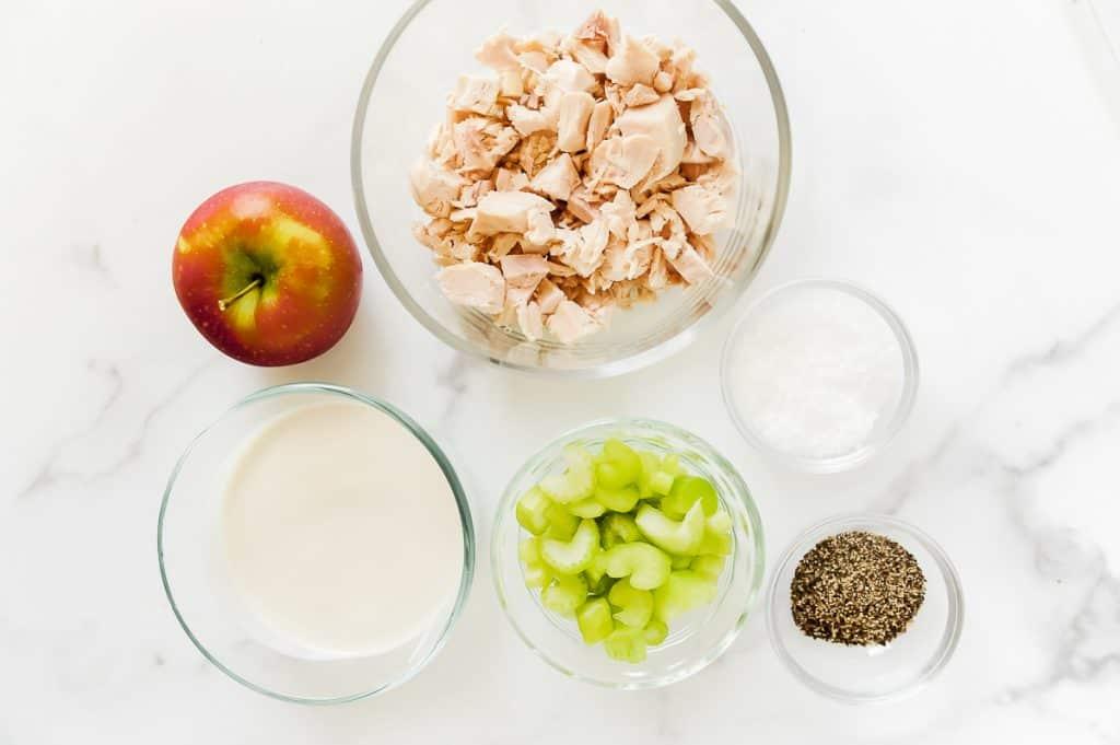 ingredients for making healthy chicken salad with rotisserie chicken