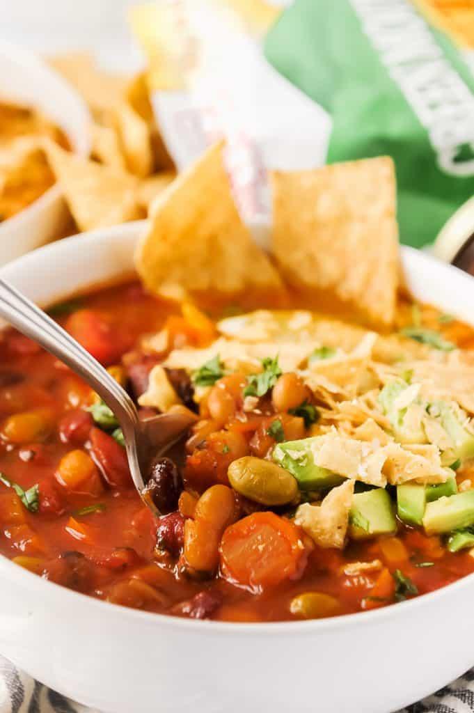 spoonful of vegetarian chili