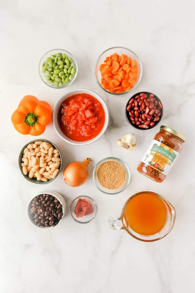 chili ingredients for vegetarian chili
