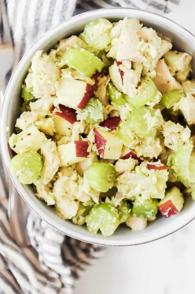 avocado chicken salad in a bowl