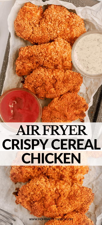 Air Fryer Chicken Cutlets made at home in your air fryer! This healthy chicken recipe is moist, crispy and coated with crunchy cereal topping!