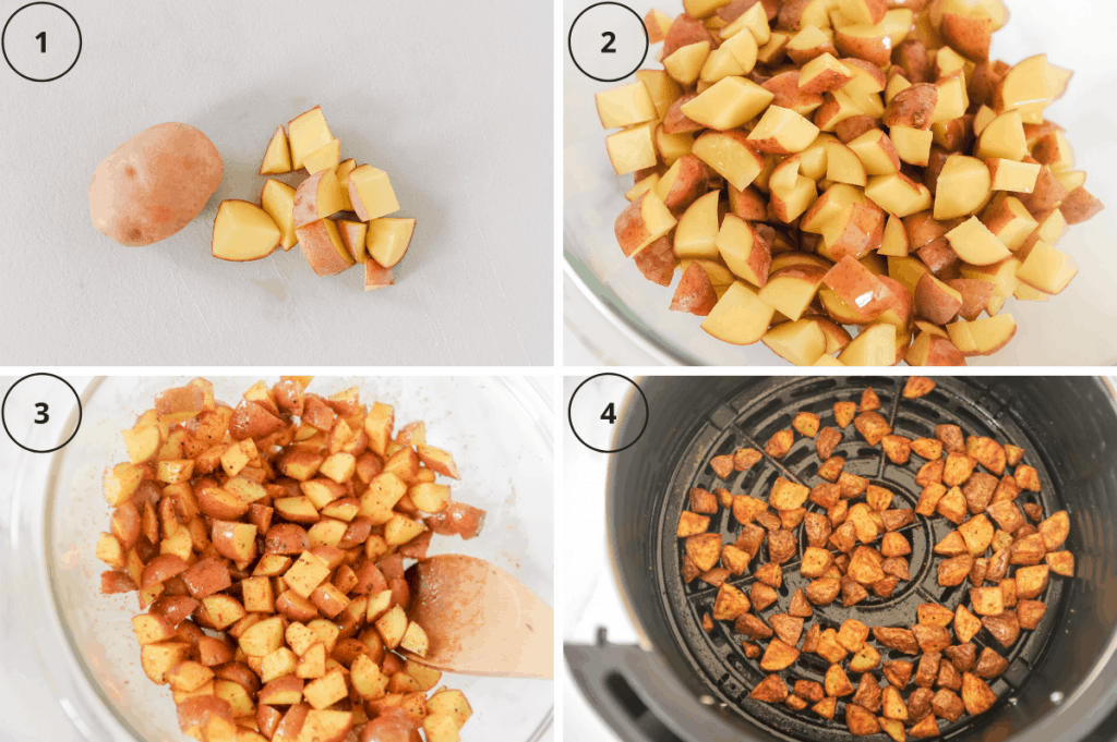 steps for making crispy potatoes in the air fryer