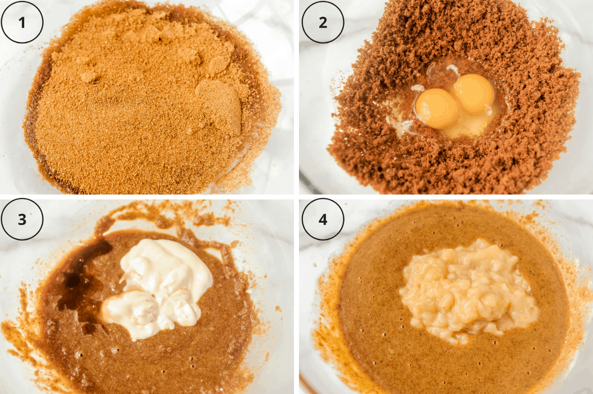 wet ingredients for banana bread